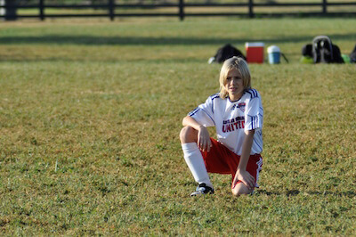 Worried soccer player
