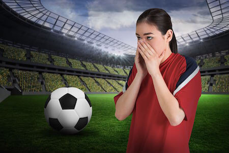 Fearful soccer player