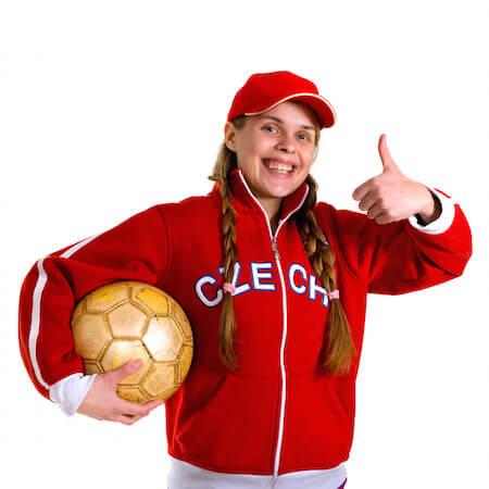 Cheerful soccer girl